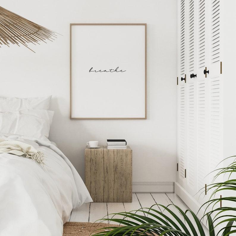 wall decor minimalist black and white typography Breathe typography poster digital print