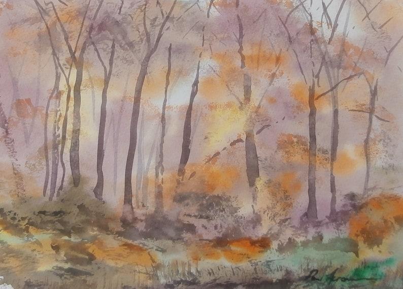 Autumn Woodland Light  Paul Acraman Watercolour Painting image 0