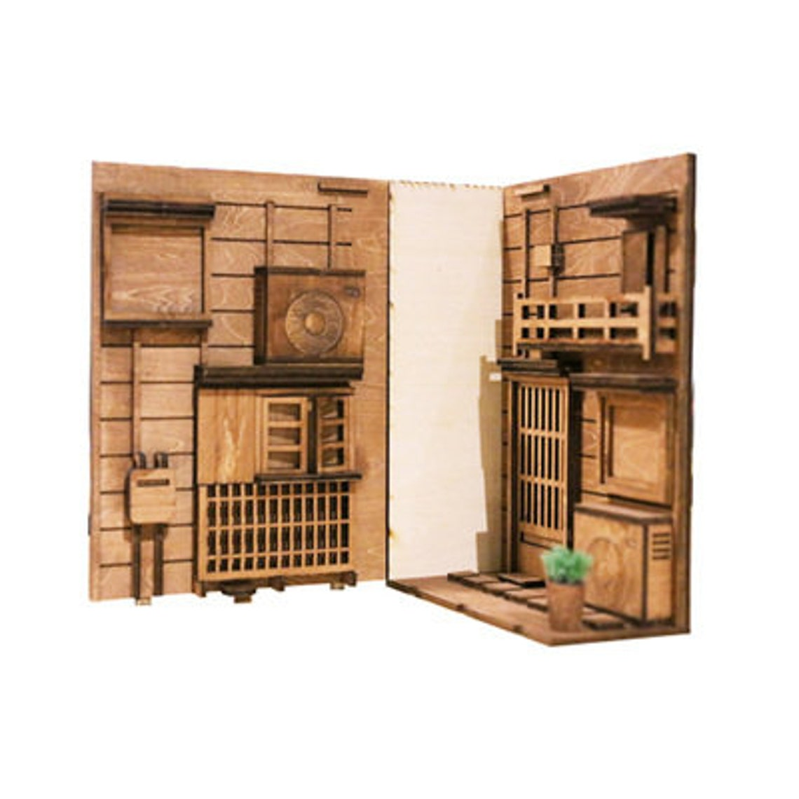 Japanese Alley Book Nook - Book Shelf Insert - Bookcase with Light Model Building Kit