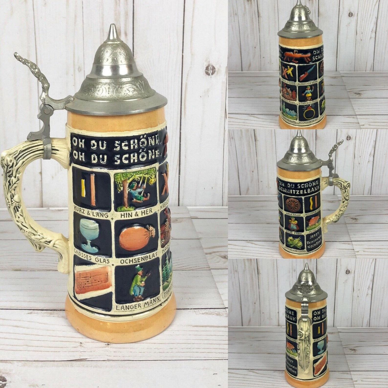 Vintage Musterschutz Genuine German Beerstein Oh Du Schone Schnitzelbank