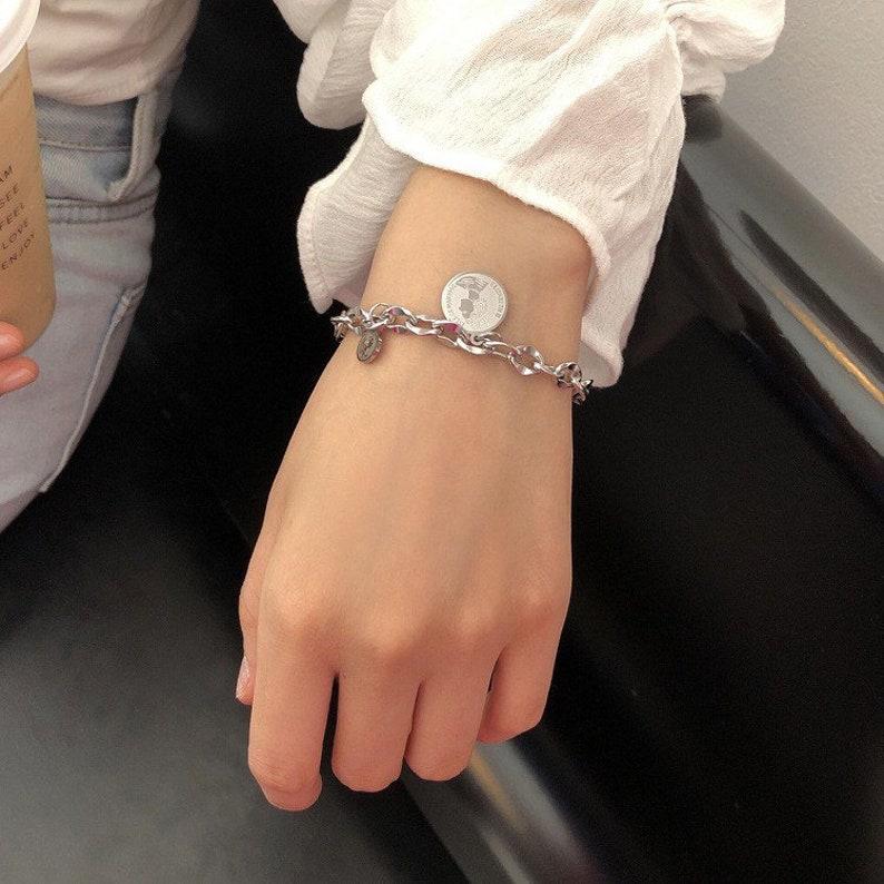 Charm 18k Silver Bracelet Layering Minimalistic Tiny Stacked Shiny Minimalist Adjustable Stackable Arm