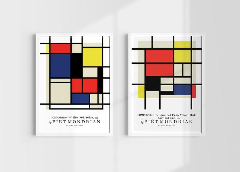 Midcentury Modernist Home Decor Bauhaus Poster New Home Owner Gift. Modern Poster Set Mondrian Composition