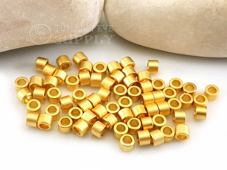 Gold Spacers Spacer Tubes Spacer Findings Gold Plated Beads Simple Gold Tube Beads 20 Pc Turkish Jewelry Mini Gold Tube Bead Spacers