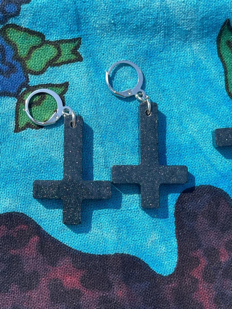 Cross Earrings Pride Cross Earrings Resin Cross Earrings Upside Down Cross Earrings