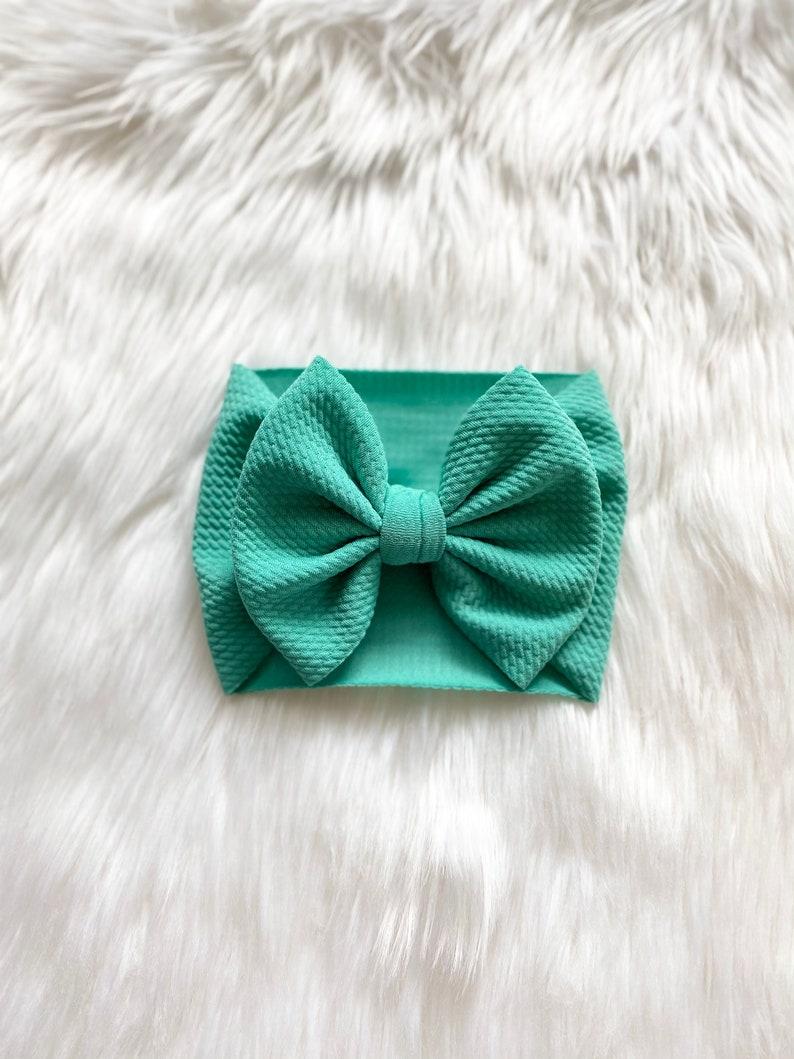 Baby Bow Summer Bow Bow Headband Arcadia Green Baby Bow Flapless Bow Bow on Clip Pigtail Bows Bow Headwrap Bow on Nylon