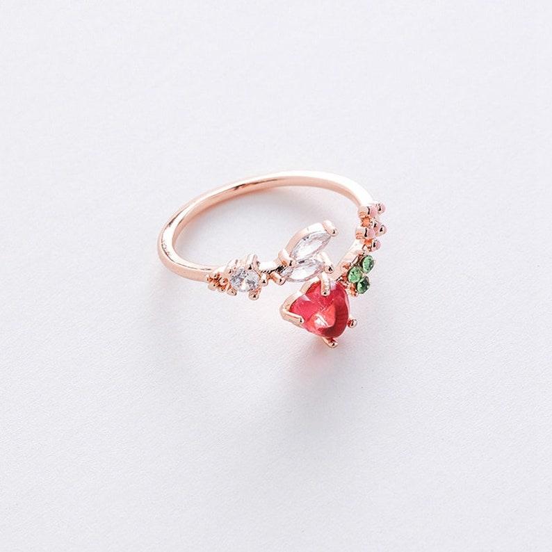 heart gem love adjustable ring gifts for her |Korean design resizable gemstone ring promise ring Cute red heart crystal ring