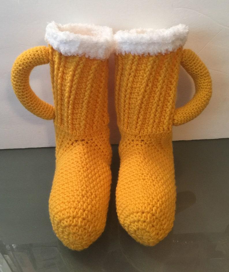 Hand Crocheted Beer/ Soda pop Socks/ Booties/ Slippers  Mens image 0