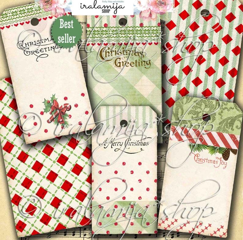 Christmas Tags / ANTIQUE CHRISTMAS No. 3 / Christmas printable image 0