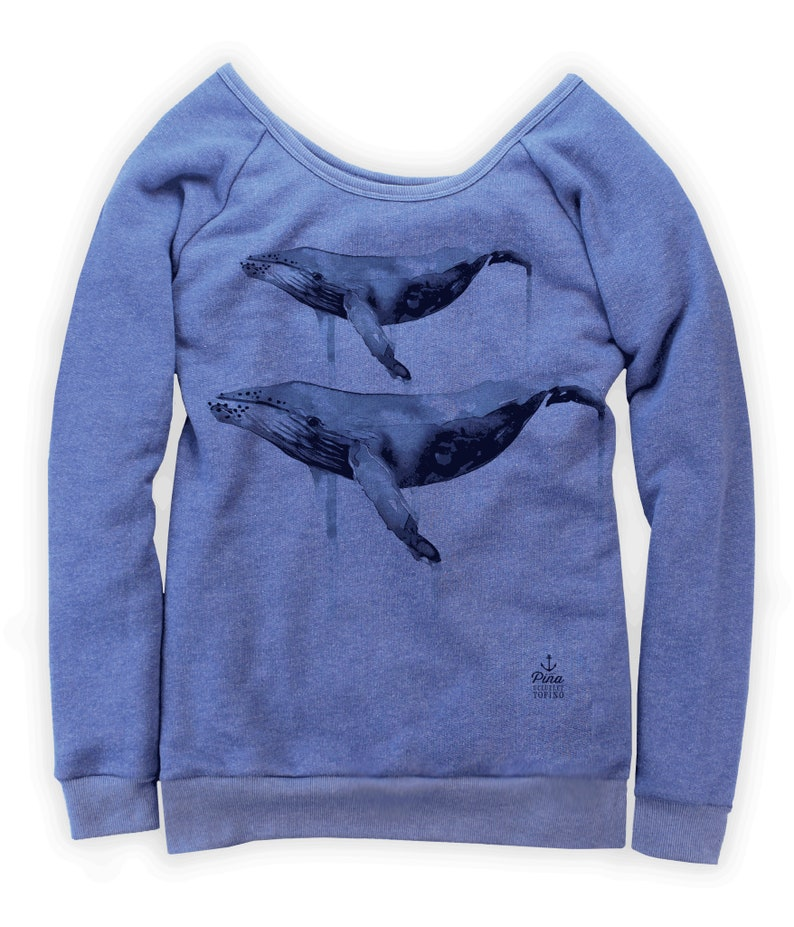 Watercolour Humpback's on Boatneck Sweatshirt image 0