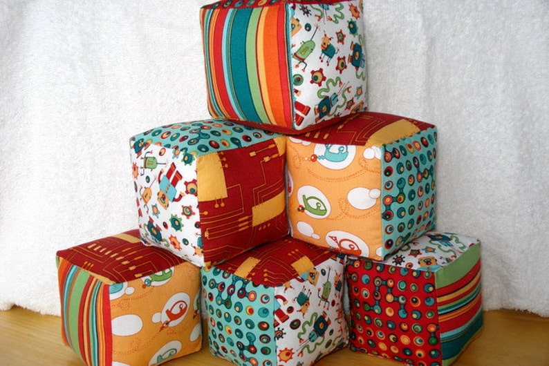 Cogsmo by Cosmo Cricket--Soft and Cuddly Fabric Jingle Baby Blocks Set of 6