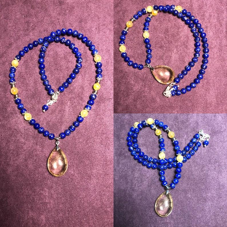 Lapis Lazuli and gold veined quartz necklace image 0