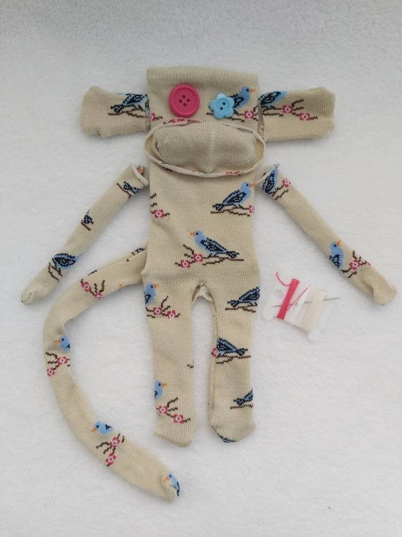 Make Your Own Sock Monkey Kit Taupe with Blue Birds on Branches DIY