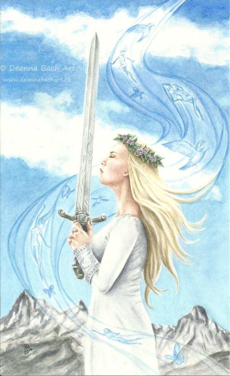 Breathe Ace of Swords fairy fantasy gothic art by Deanna image 0