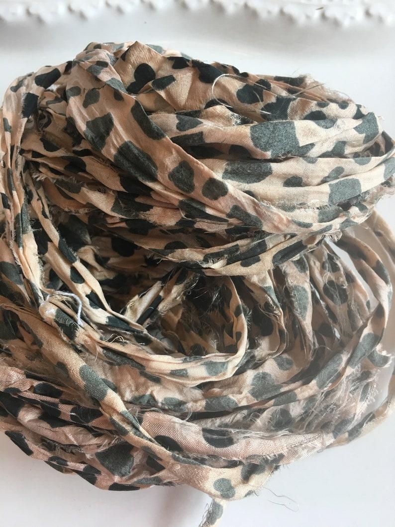 Heart Print Variegated Light Peach 10 yards Sari Silk Ribbon Block Recycled Sari Ribbon