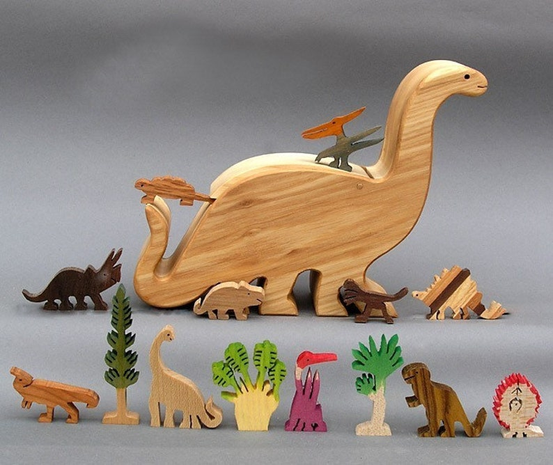 Dinosaur Story Box   Wooden Toy for Jurassic Park Kid Organic image 0
