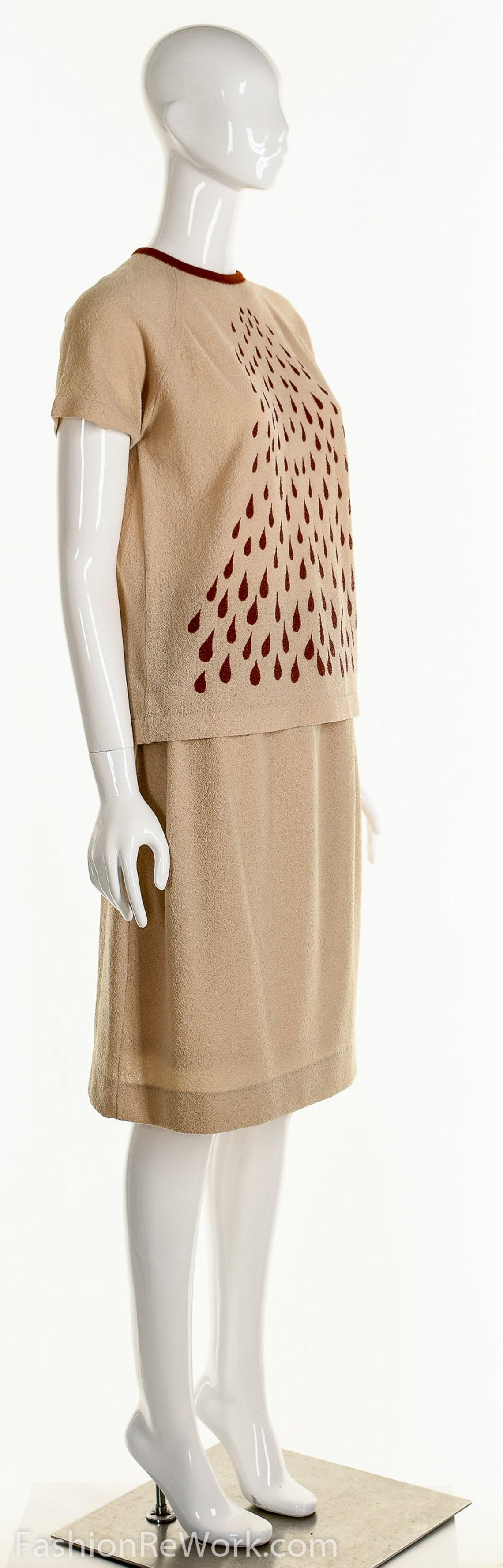 Rain Drop Dress 70's 2 Piece Dress 2 Piece Dress Suit