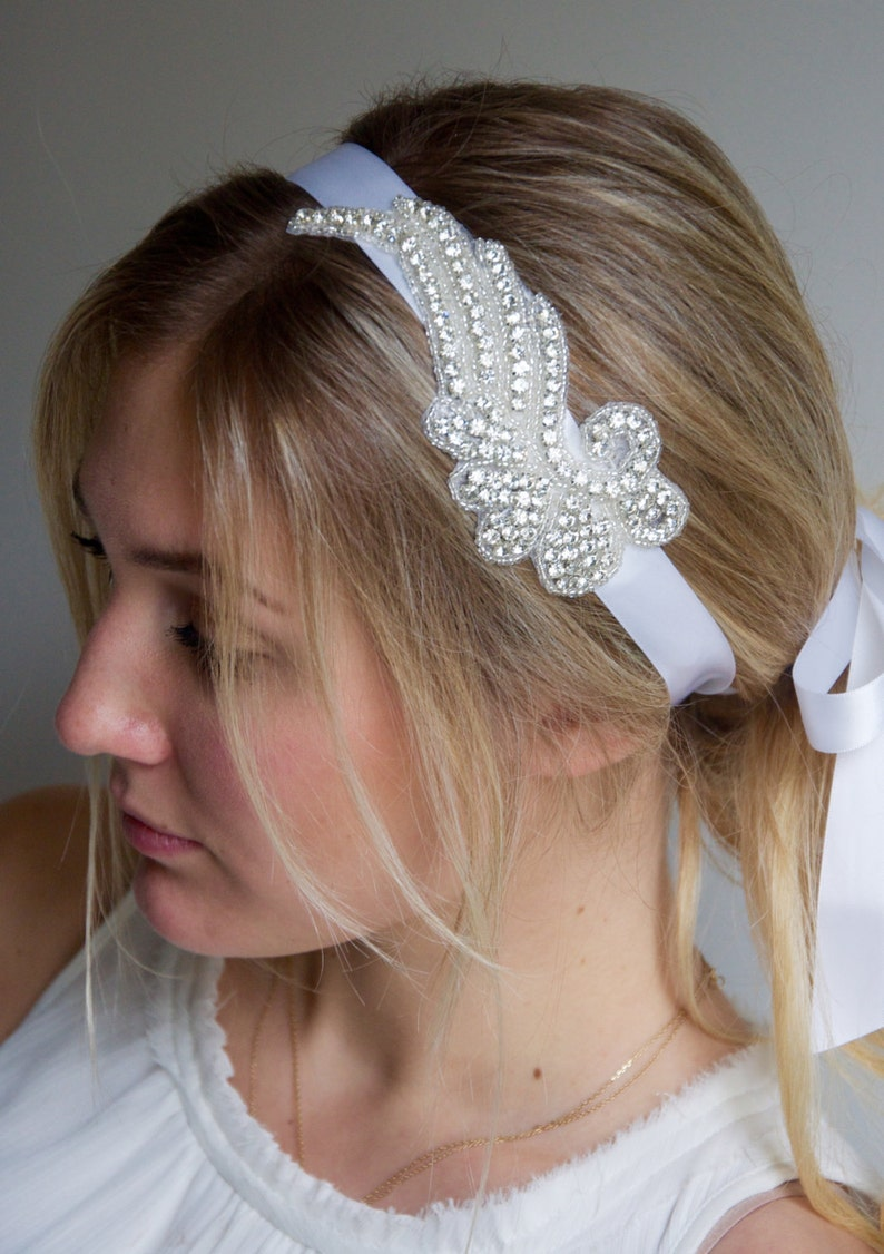 Rhinestone Wing Headband Crystal Rhinestone Angel wing on satin white ribbon headband