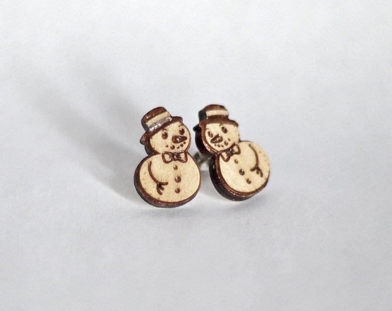Snowman wood earring studs. Christmas snowman earrings wood image 0