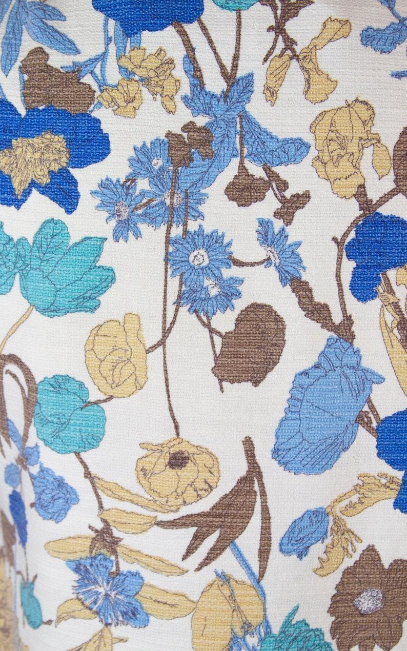 1960s Jacket ~ Blue Botanical Floral Cropped Cotton Jacket