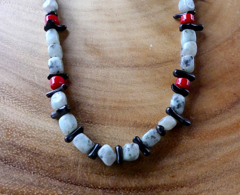18-20 Inch Unisex Gray Black and Red Stone Tribal Boho Surfer Necklace
