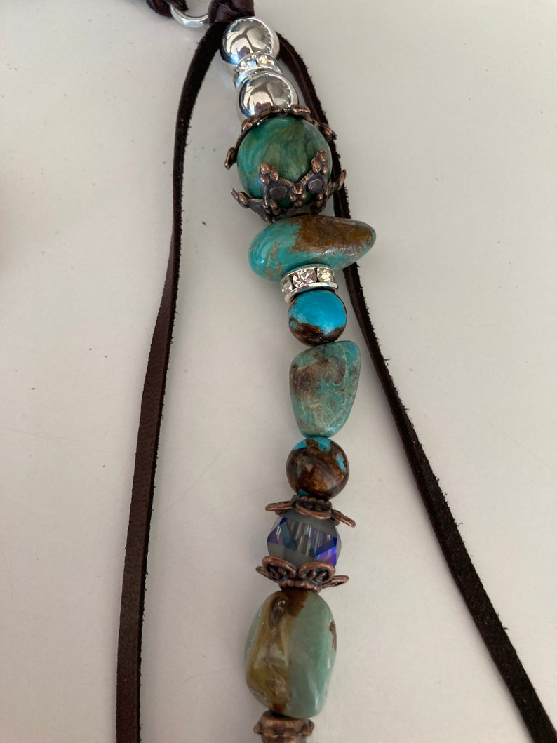 Custom flower end piece EP All natural stones and findings! One of a kind bag art or rear view car art designer tassels