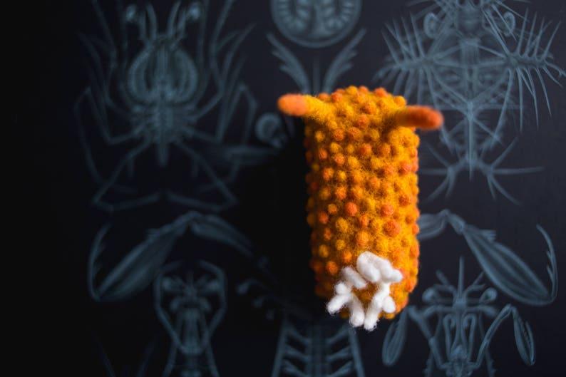 miniature needle felt nudibranch Acanthodoris lutea wool sea slug sculpture Christmas tree ornament gift for divers and biologists