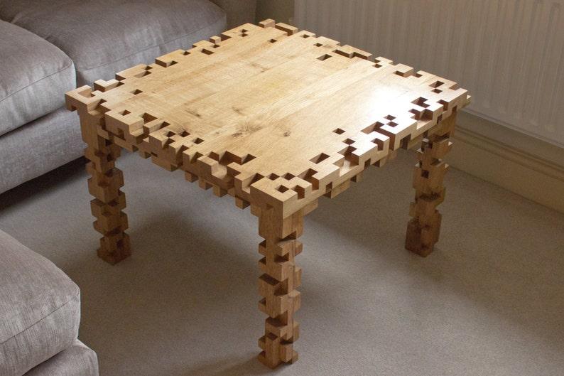 Handmade Coffee Table  Soild Oak  8 Bit  Pixels  Square image 0