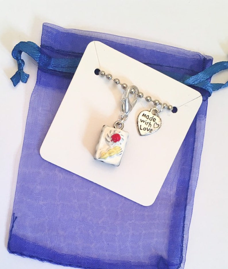 Chocolate Sponge Cake White Icing Clip on Charm Junk Journal Gift Planner Charm Unique Gift Ideas Stitch Marker Pendant Bag Charm