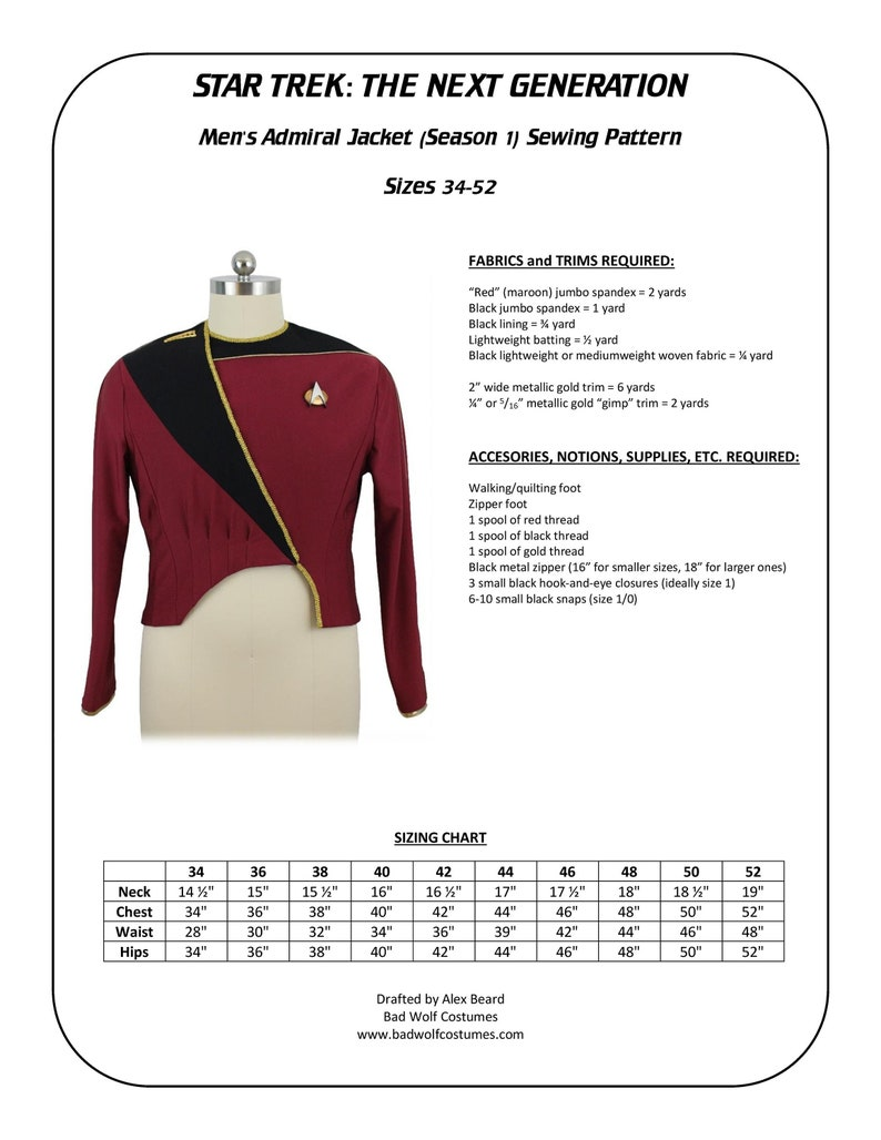 Star Trek Sewing Pattern  TNG admiral jacket season 1  The image 0