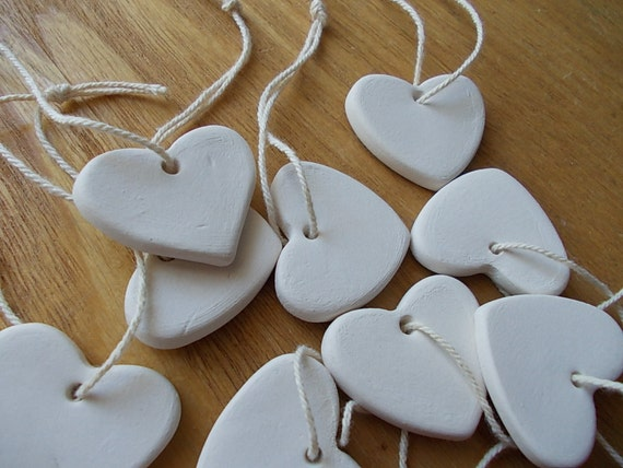7 Ceramic Hearts  Gift Tags  FAVORS  Birthday Favors  HEART Chimes  Ornament  White Heart  Thankyou Gift  Shower favor