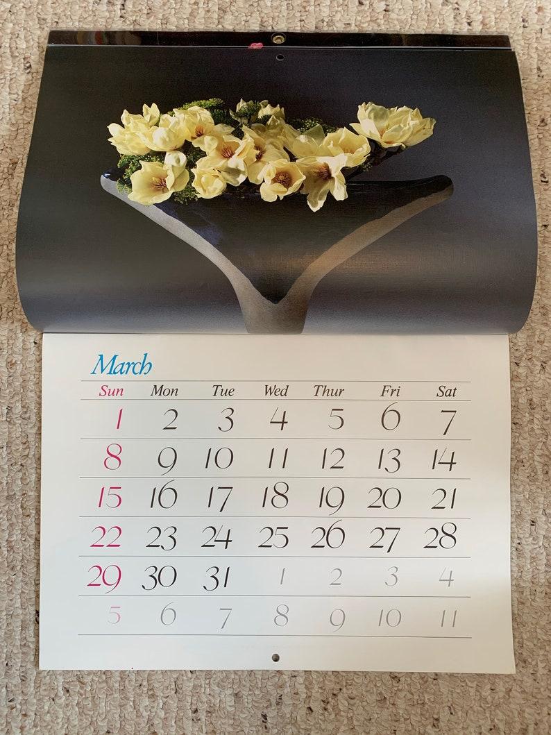 Vintage 1987 Japanese Ikebana calendar floral arrangement flowers