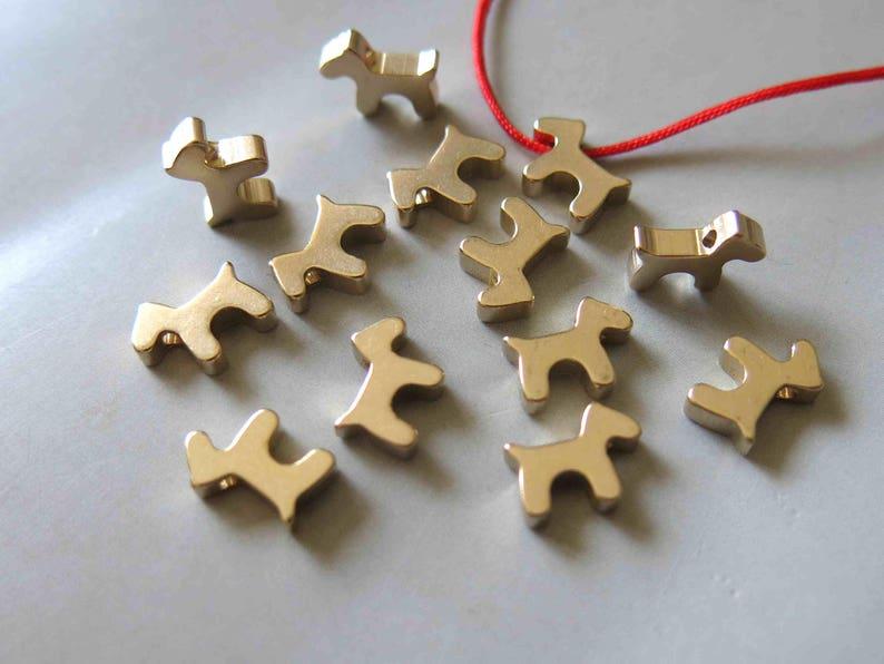 50pcs Raw Brass Dog Charms,Pendants 11mmx7mm F458