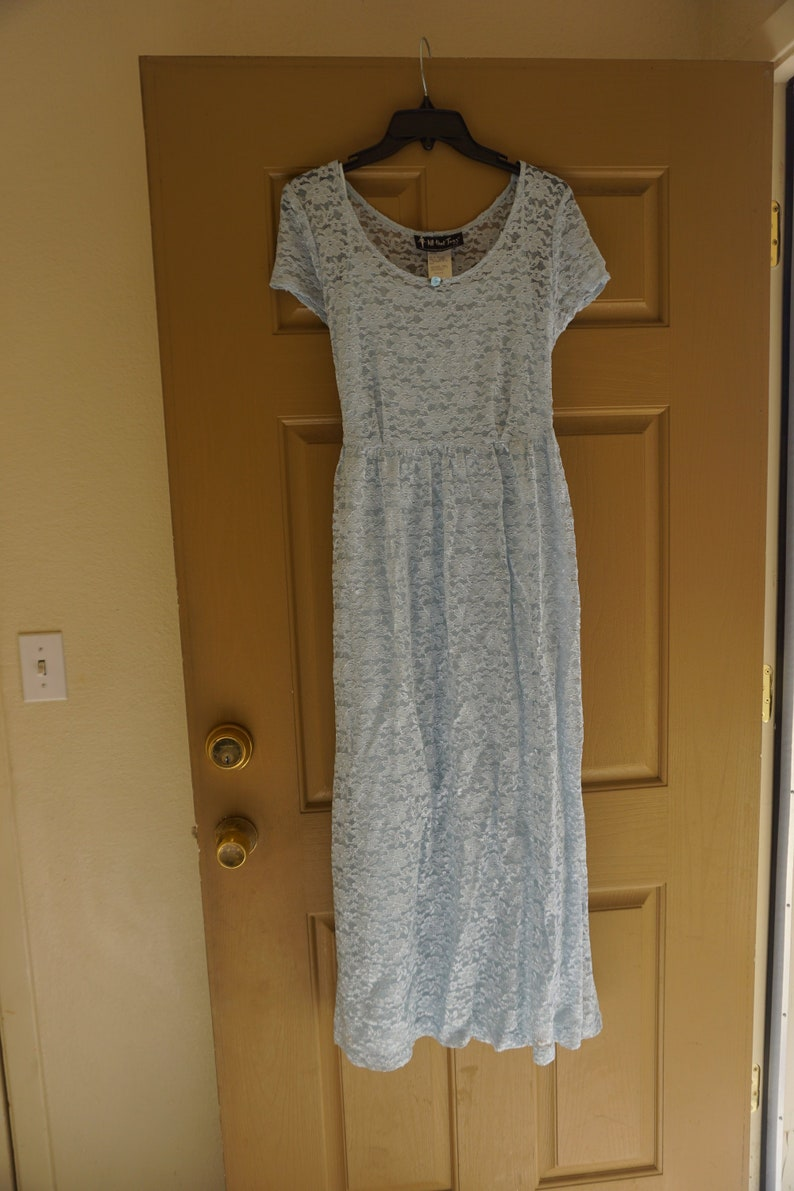 Vintage pastel blue long lace dress with slip made by all that jazz  size 11  12 adjustable corset tie in back of waist