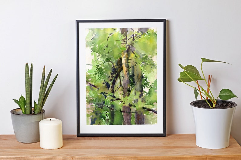 Print of Forest painting watercolor  green woods painting image 0
