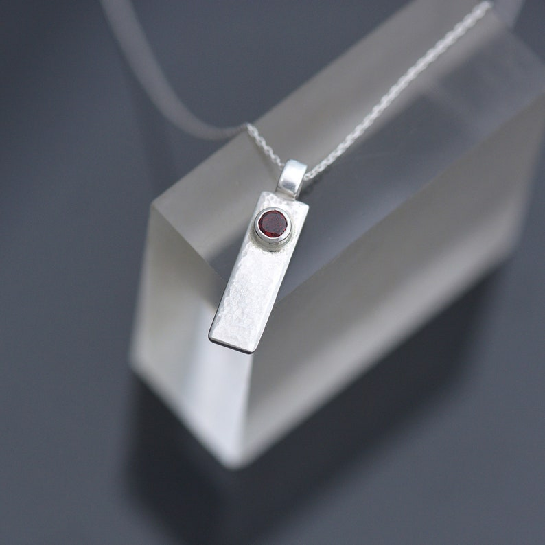 Silver and Garnet Pendant Sterling Silver Pendant with Garnet image 0