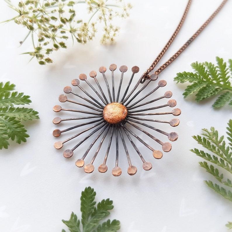 Copper dandelion necklace rustic seed head necklace birthday image 0