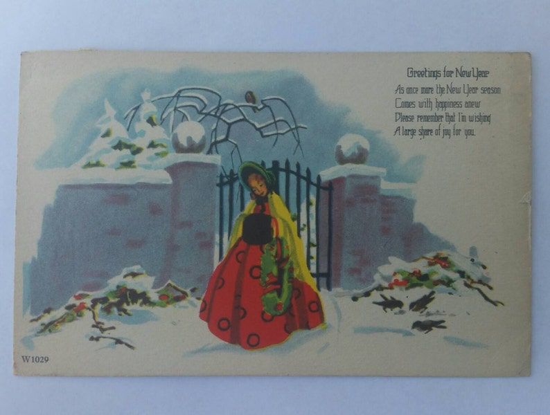 Greetings for New Year Lady in rhe Snow Vintage Postcard Paper Ephemera Collectible
