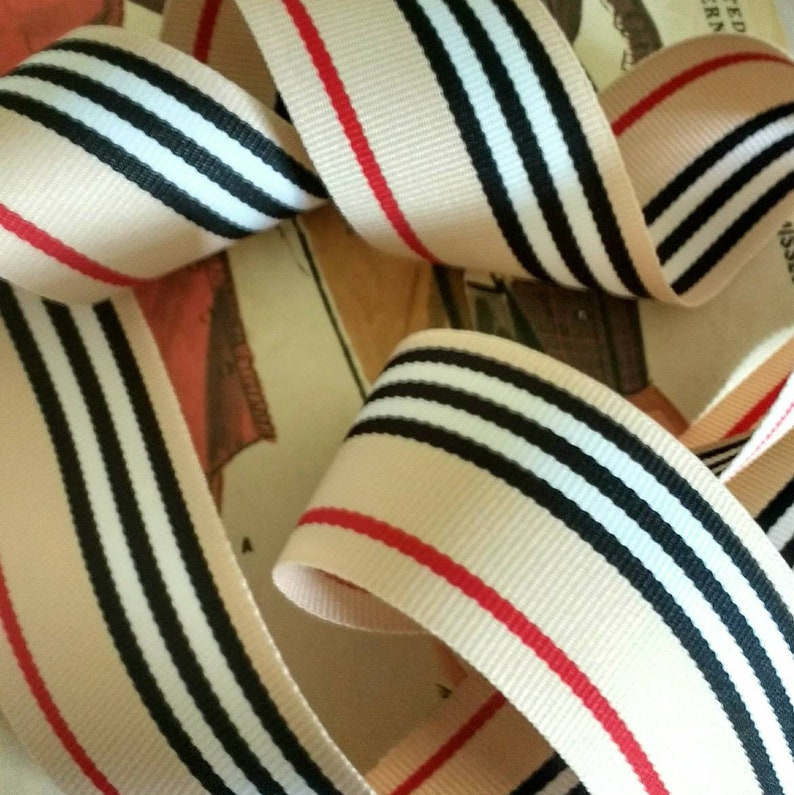 Tan Black White and Red Grosgrain Ribbon Classic Striped image 0