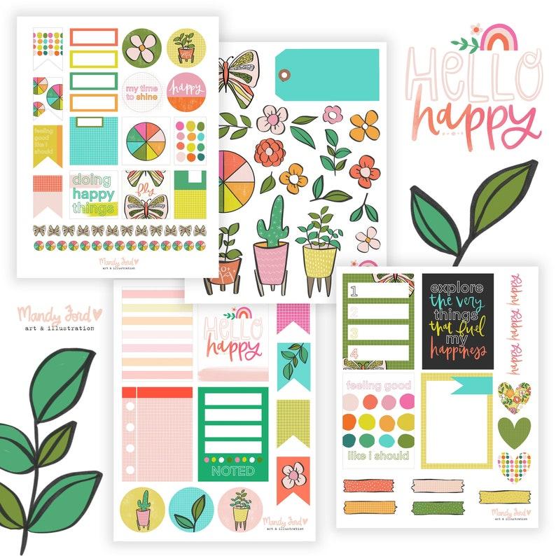 Hello Happy Printable Scrapbooking Kit  Planner Stickers  image 0