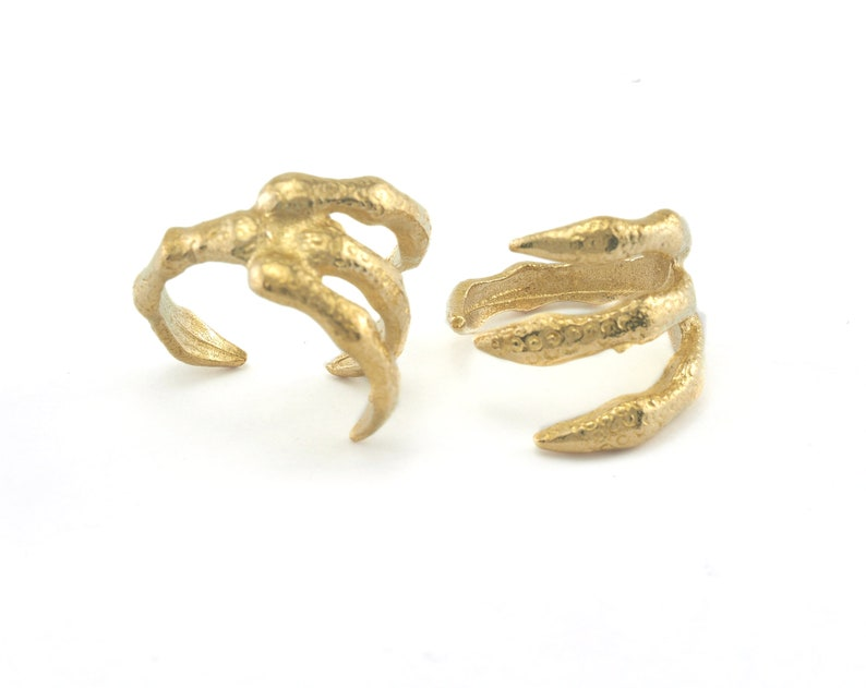16.5mm 6US inner size OZ2405 Claw Adjustable Ring Raw Brass