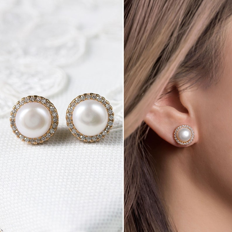 Wedding Earrings Bridesmaid Earrings Pearl Studs Minimalist  Earring Multiple usage pearl Earrings