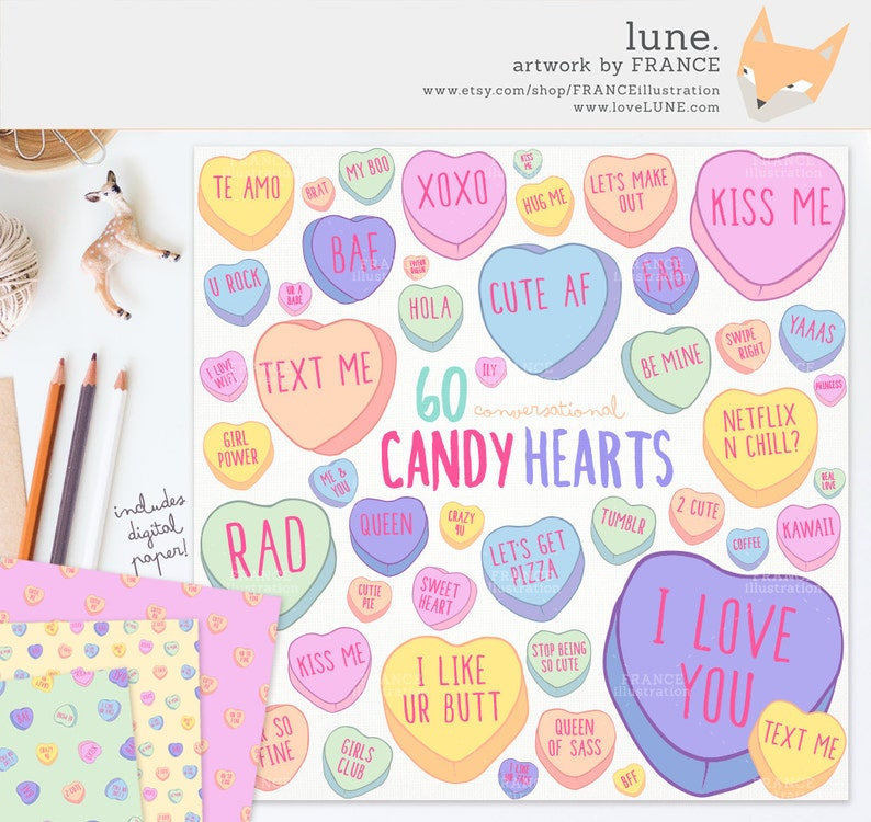 3 FOR 2. Valentine's Day Candy Heart Clipart. Pastel image 0