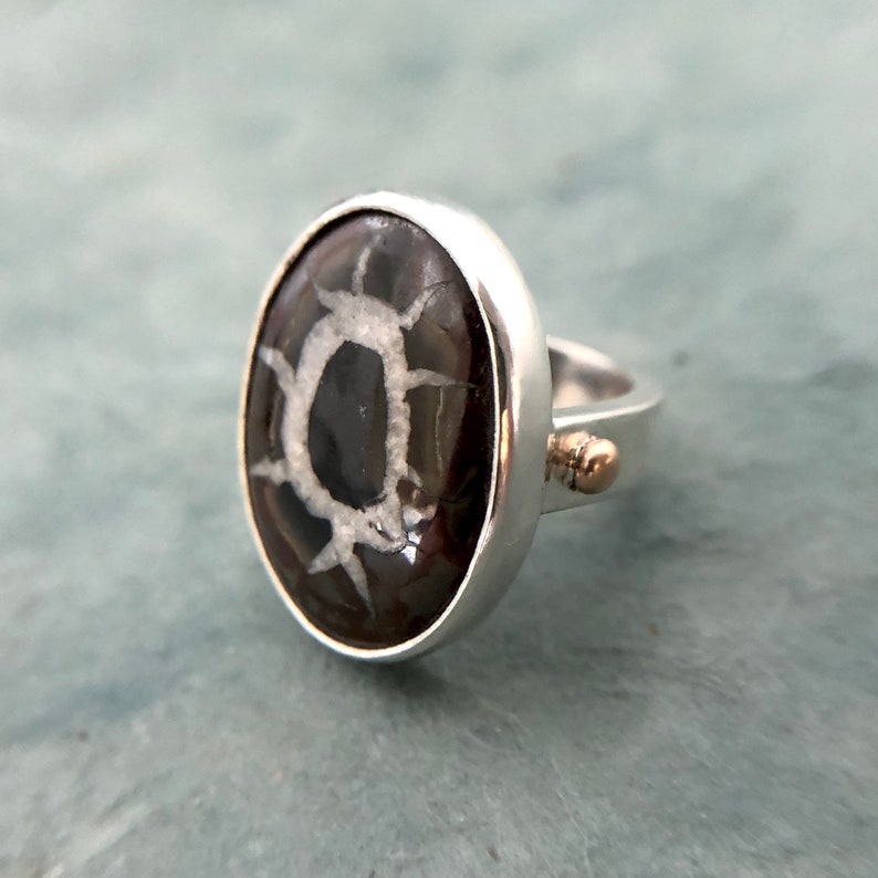 Size 6 Handmade Septarian and Sterling minimal Ring 925 sterling chunky ring minimal ring gift for her