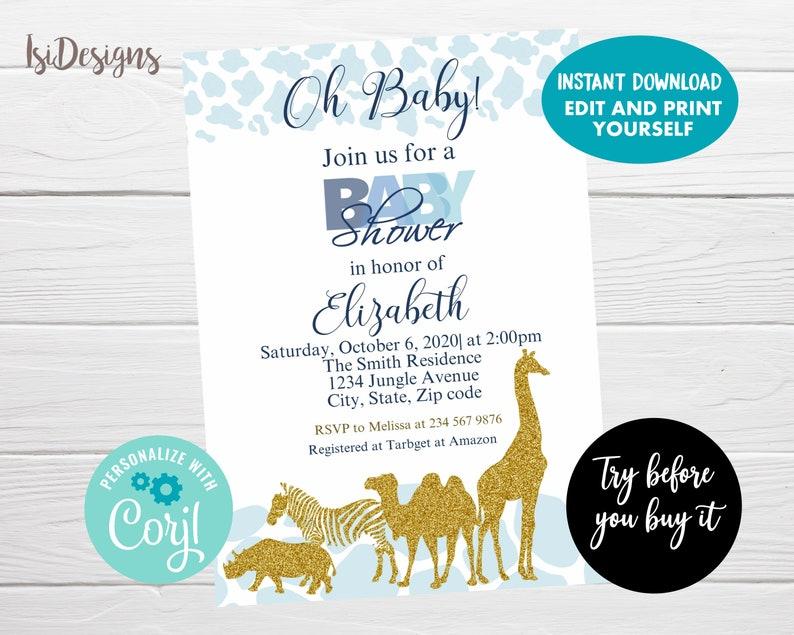 Safari baby shower invitation blue and gold jungle invite image 0