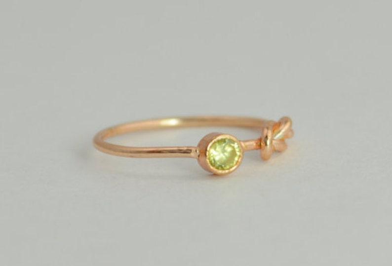 14k Rose Gold Peridot Infinity Ring 14k Rose Gold Stackable image 0