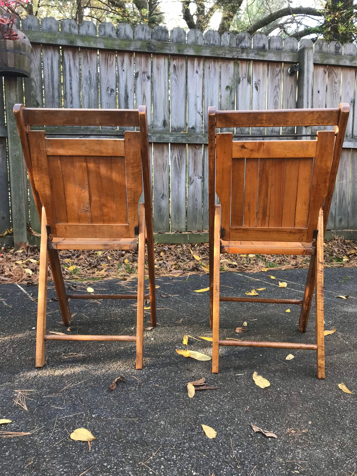 2 Vintage Wooden Oak Folding Chairs Great for Weddings or Events