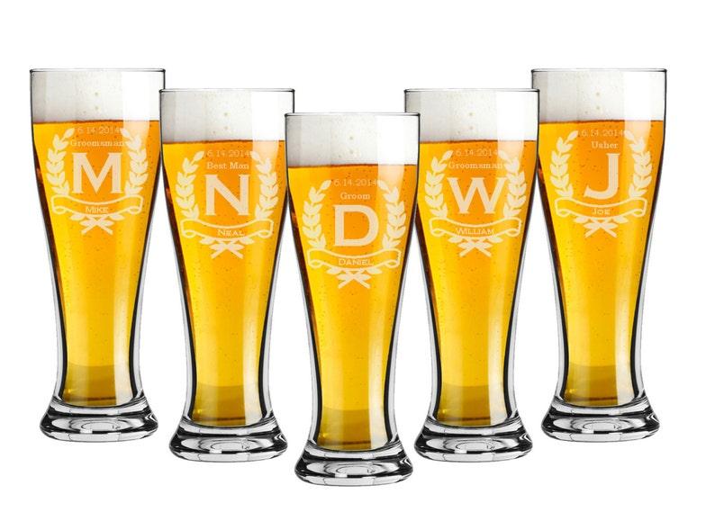 Groomsmen Gift  Pilsner 16 ounce Beer Glasses  Choice of image 0