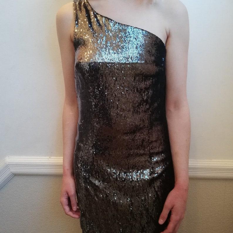 Size UK S 100 GBP RRP Pepe jeans designer black sequin glitter one shoulder dress
