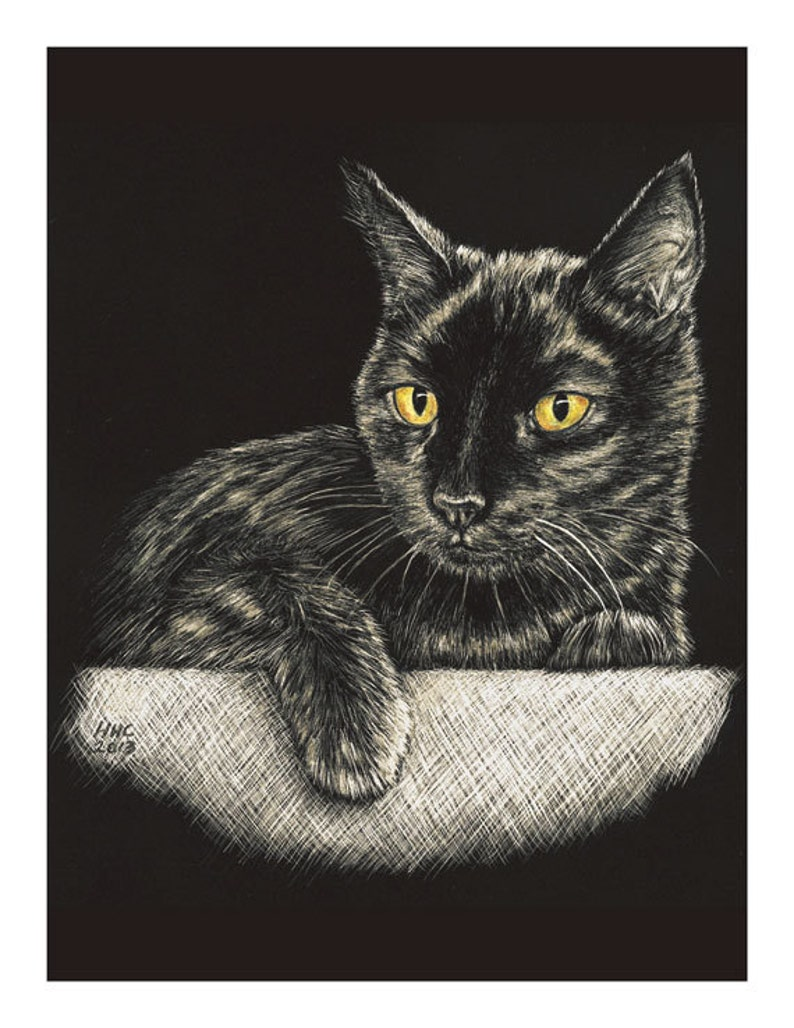 Black Cat Cards and Prints from Original Scratchboard image 0